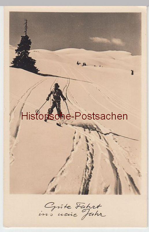(51906) Foto AK Gute Fahrt ins Neue Jahr, Skifahrer