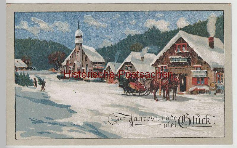 (72231) AK Zur Jahreswende viel Glück, verschneite Ortschaft vor 1945