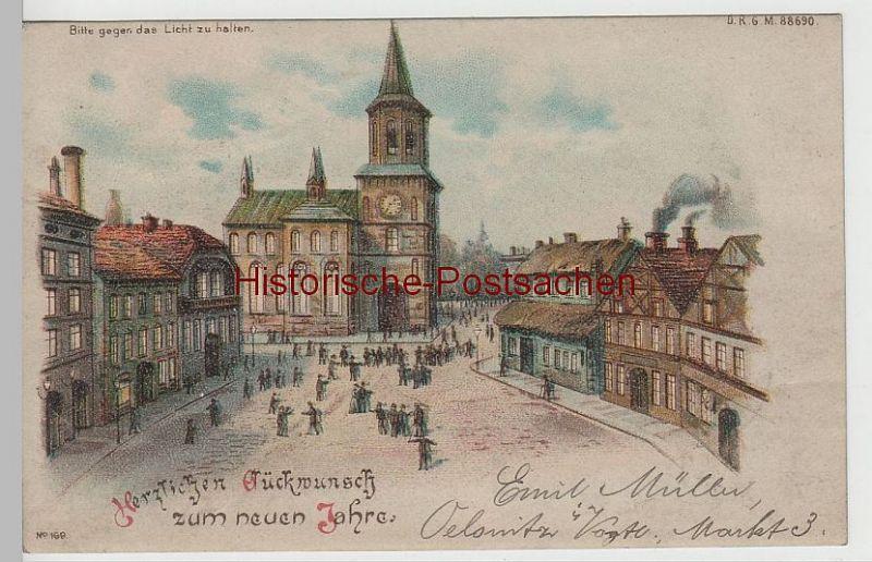 (77730) AK Glückwunsch zum Neuen Jahre, Halt gegen das Licht Karte 1901