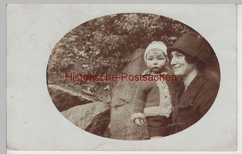(73851) Foto AK junge Frau mit kleinem Jungen, vor 1945