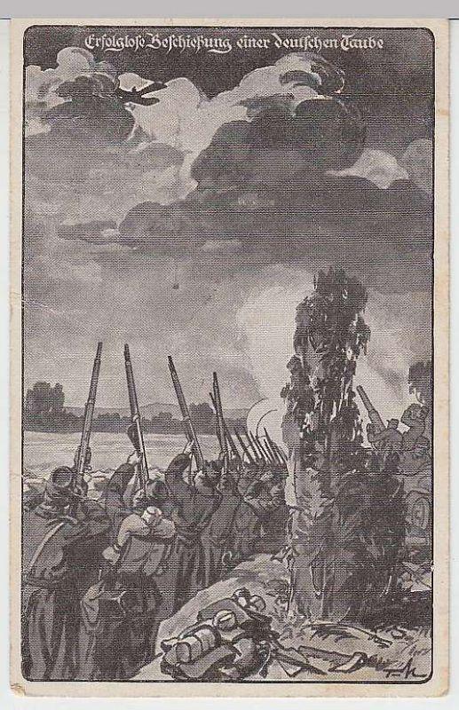 """(35664) Künstler AK Patriotika """"Erfolglose Beschießung e. dt. Taube"""" 1915"""