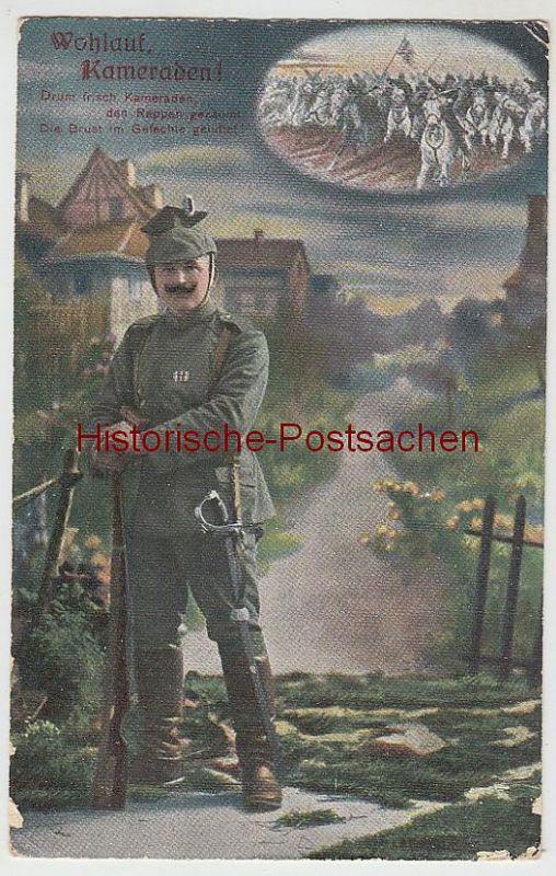 (40281) AK Patriotika -Wohlauf, Kameraden!-, Feldpost 1916