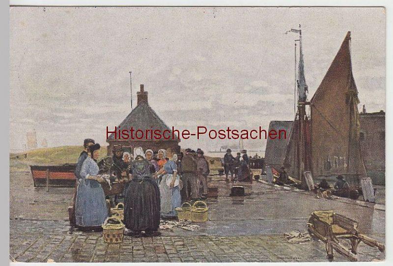 (42180) Künstler AK Hans Herrmann: Fischmarkt in Vlissingen 1912