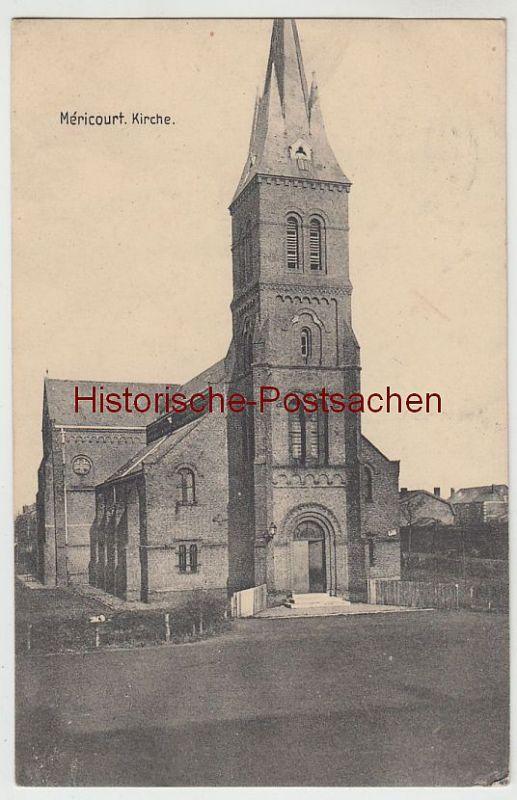 (45425) AK Méricourt, Kirche, Feldpost 1916