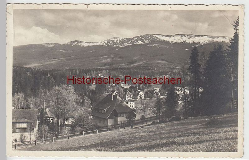 (45044-) Foto AK Ober-Schreiberhau, Blick v. Kurpark n.d. Riesengebirge