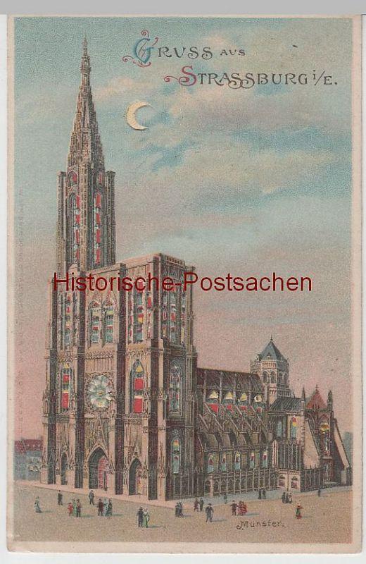 (76980) AK Gruss aus Strassburg, Münster, Halt gegen das Licht Karte um 1905