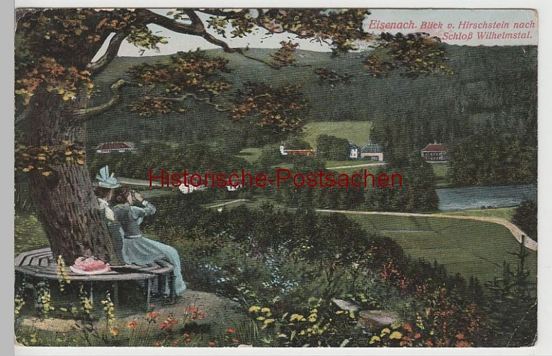 (73769) AK Eisenach, Blick vom Hirschstein nach Schloss Wilhelmstal 1918