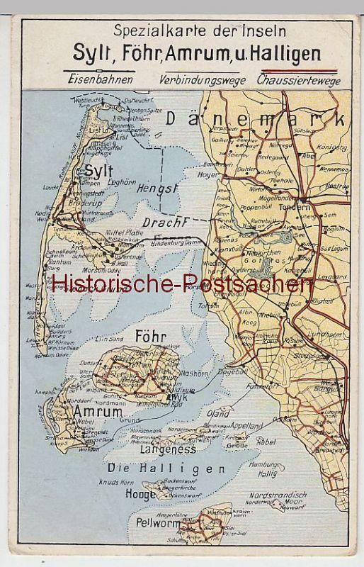 Karte Sylt Amrum.45548 Ak Sylt Föhr Amrum Halligen Spezialkarte Landkarte Vor 1945