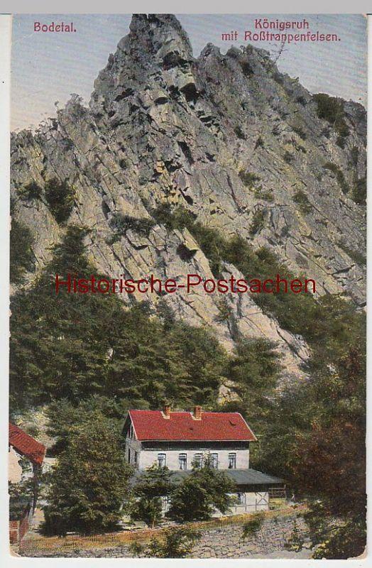 (41679) AK Bodetal, Königsruh mit Roßtrappefelsen, 1913