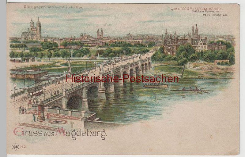 (63084) AK Gruss aus Magdeburg, Brücke, Halt gegen das Licht Karte um 1900