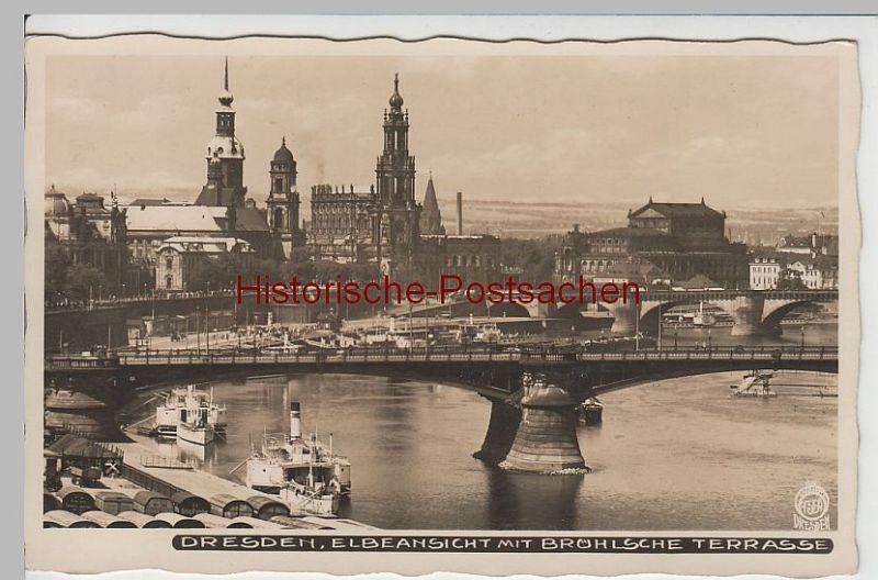 (64236) Foto AK Dresden, Carolabrücke, Dampfer, Brühlsche Terrasse 1938