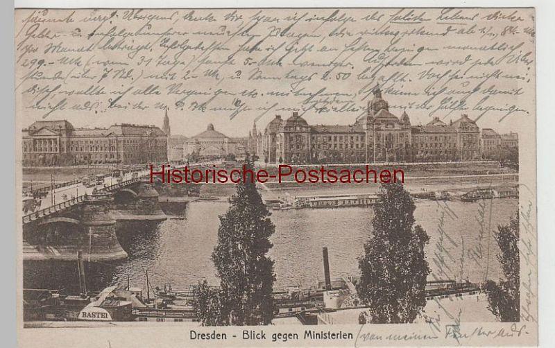 (75976) AK Dresden, Carolabrücke, Blick gegen Ministerien 1919