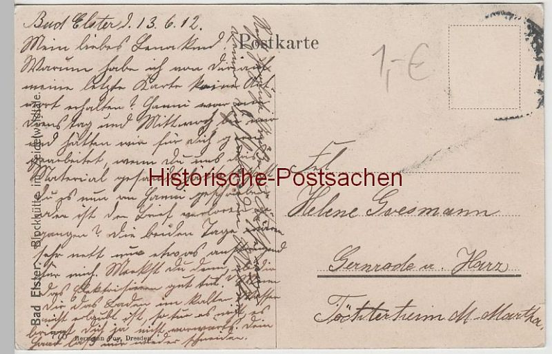 (76257) AK Bad Elster, Blockhütte im Zeidelweidetal 1912 1