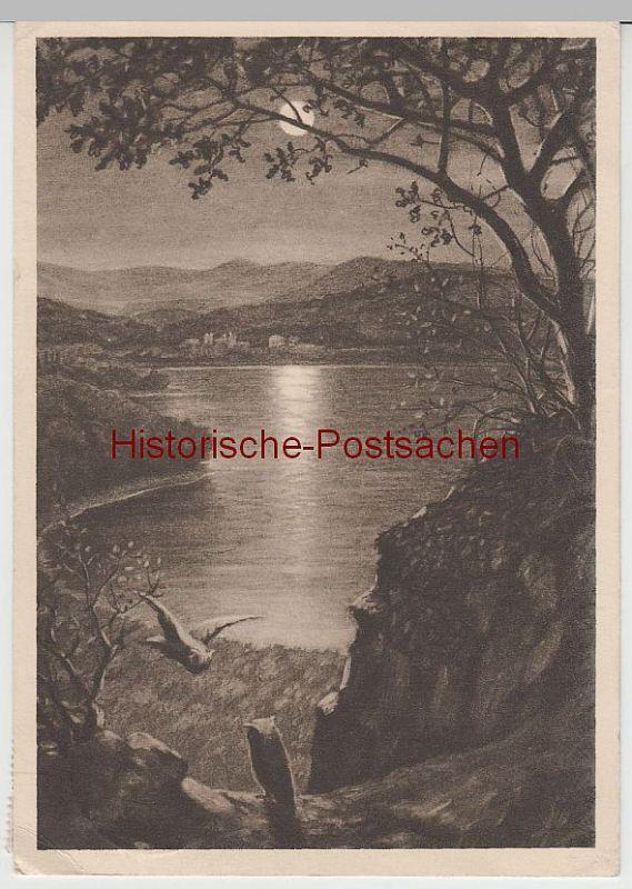 (65952) Künstler AK Maria Laach, Mondnacht am See, 1934