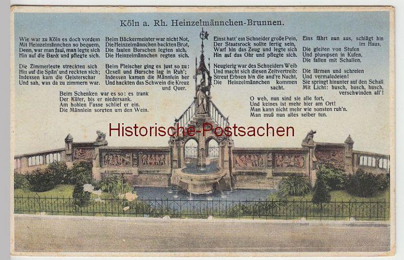 (44544) AK Köln, Heinzelmännchen-Brunnen, mit Gedicht, vor 1945