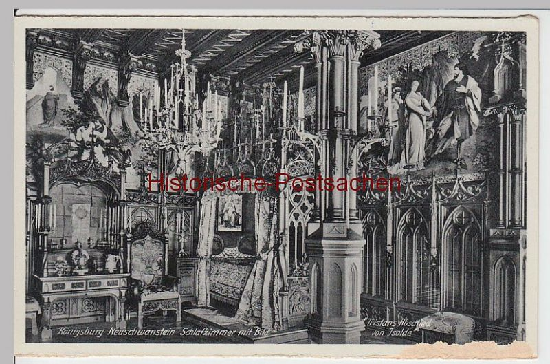 (59456) AK Schloss Neuschwanstein, Schlafzimmer mit Bild, aus Leporello