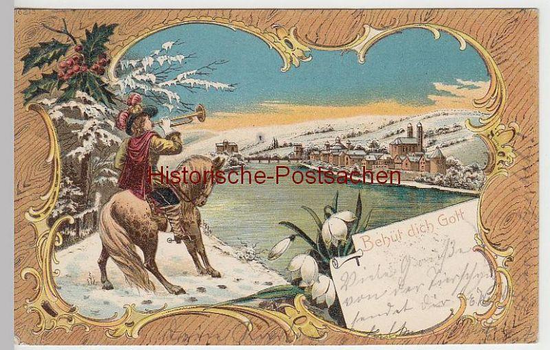 (40625) AK Bad Säckingen, Litho m. Trompeter -Behüt dich Gott!-, 1900