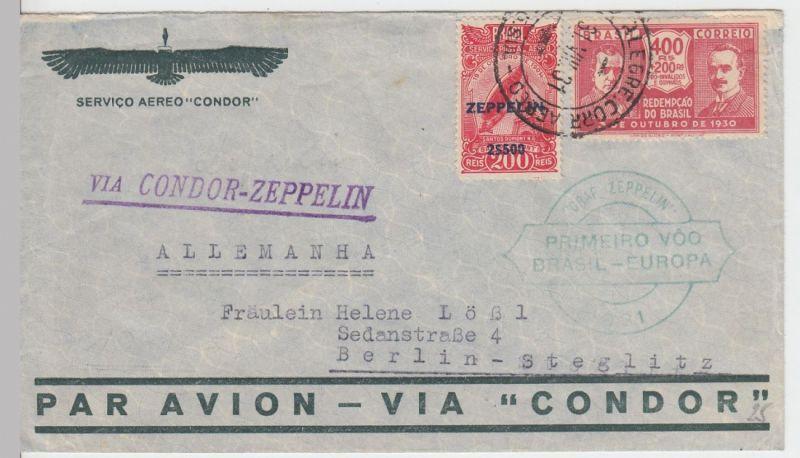 (Z4) Zeppelinpost 1. Südamerikafahrt, Brasilianische Post 1931, Sondermarke