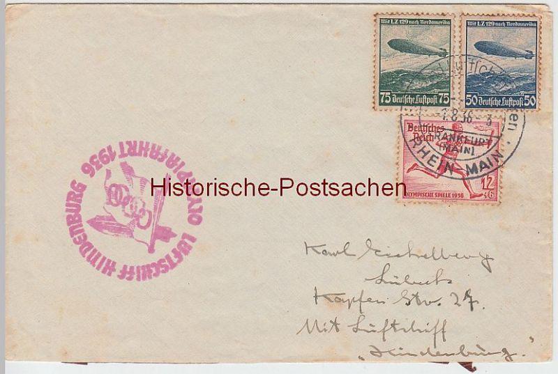 (Z82) Zeppelinpost Olympiafahrt 1936 m. Zeppelinmarken