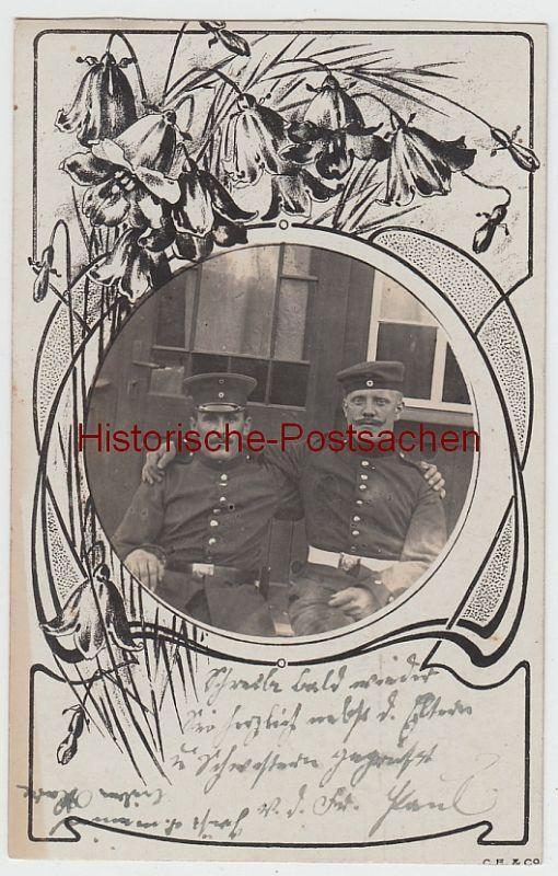 (F4603) Orig. Foto Porträt Soldaten im Blumenrahmen, Erfurt 1911