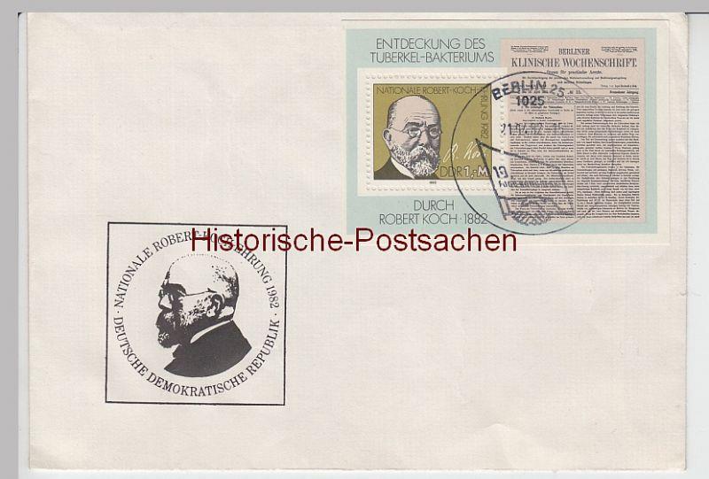 (B2411+) Ersttagsbrief DDR Robert-Koch-Ehrung 1982 m. Block 2685 u SSt FDGB