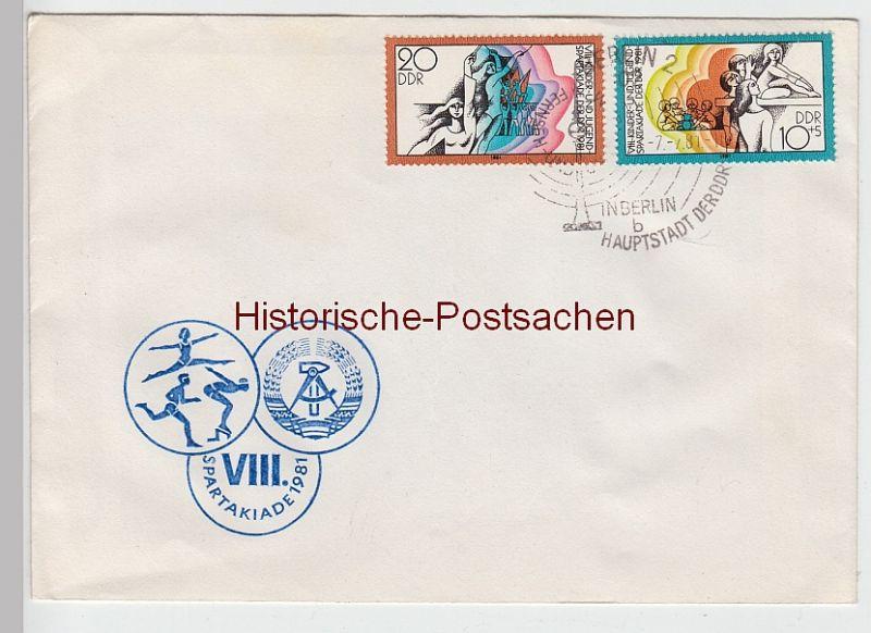 (B2414+) Ersttagsbrief DDR VIII. Sparkadiade 1981 mit Mi 2617 - 2618