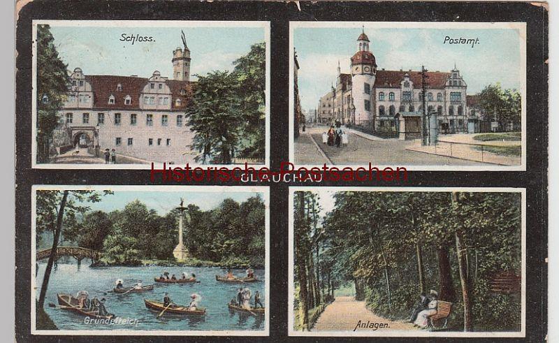 (96729) AK Glauchau, Sachsen, Gründelteich, Postamt 1910