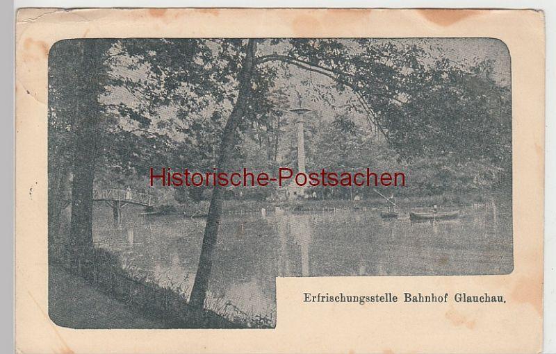 (96738) AK Glauchau, Sachsen, Gründelteich, Brücke, Gedenksäule 1925