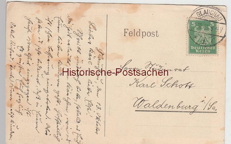(96738) AK Glauchau, Sachsen, Gründelteich, Brücke, Gedenksäule 1925 1
