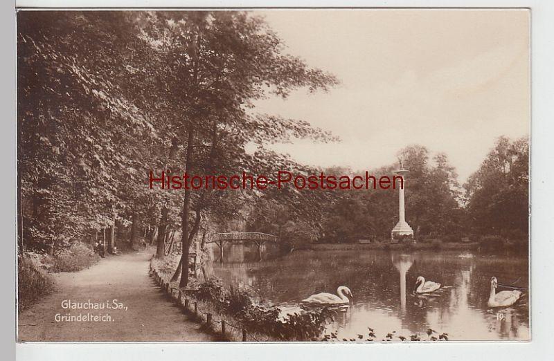 (101189) Foto AK Glauchau, Sachsen, Gründelteich, Gedenksäule 1934