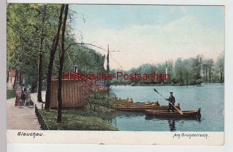 (101198) AK Glauchau, Sachsen, Gründelteich, Ruderboote 1913