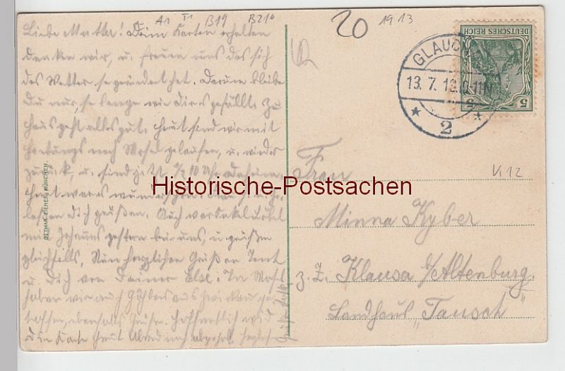 (101198) AK Glauchau, Sachsen, Gründelteich, Ruderboote 1913 1