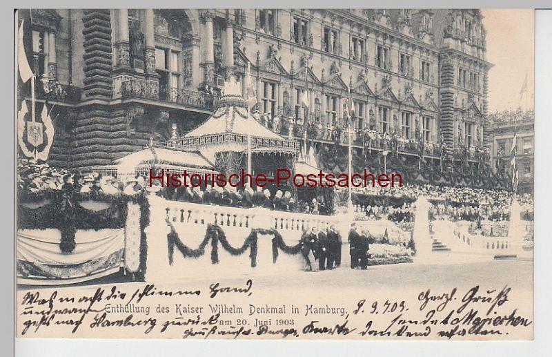 (101825) AK Hamburg, Enthüllung d. Kaiser-Wilhelm-Denkmals vor dem Rathaus, 1903