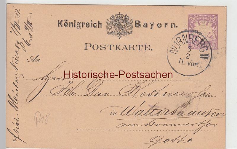 Bayern Briefmarken Nürnberg Bayern Landesausstellung 1896 Stempel Postkarten Ganzsache Bayern 5 Pf.