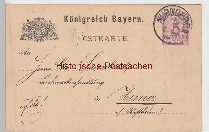 Deutschland Ganzsache Nürnberg Bayern Landesausstellung 1896 Stempel Postkarten Ganzsache Bayern 5 Pf.
