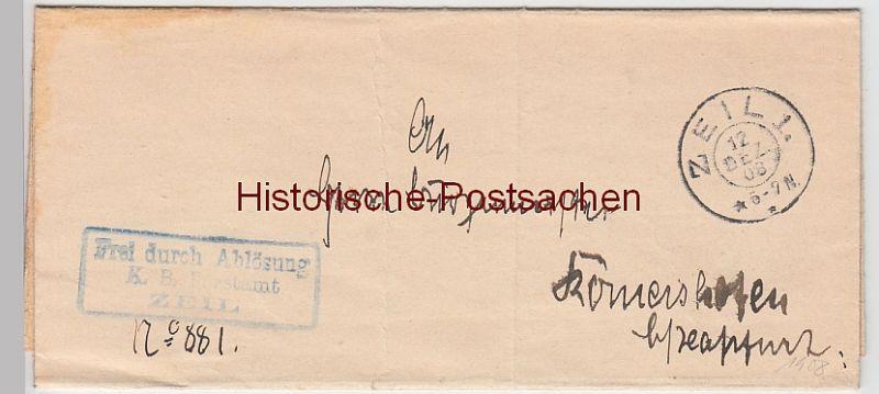 (B2428+) Faltbrief Dienstsache, Forstamt Zeil 1908