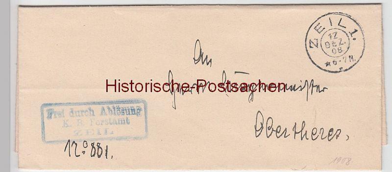 (B2430+) Faltbrief Dienstsache, Forstamt Zeil 1908