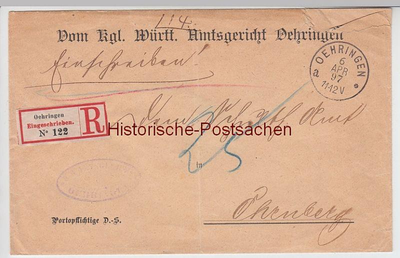 (B2436+) Bedarfsbrief Dienstsache, Amtsgericht Oehringen. R-Brief 1897