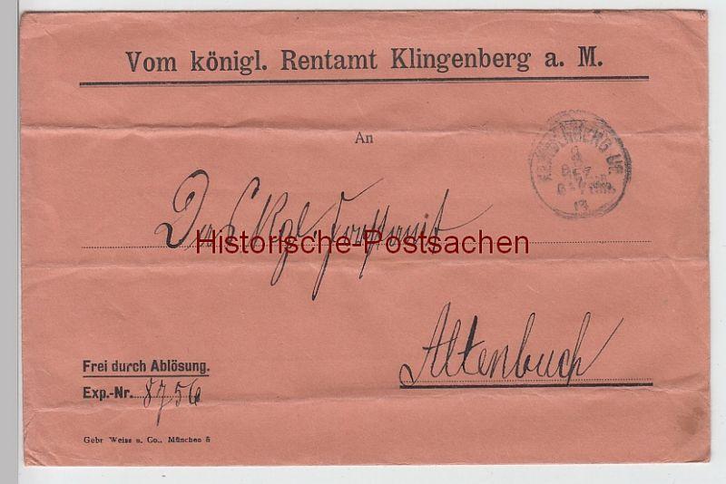 (B2437+) Bedarfsbrief Dienstsache, Rentamt Klingenberg a.M. 1917