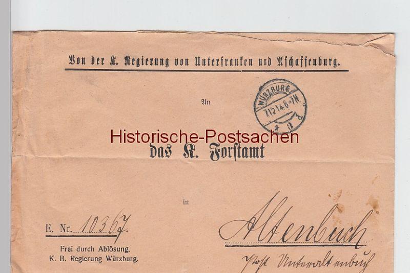 (B2439+) Bedarfsbrief Dienstsache, Regierung v. Unterfranken u. Aschaffenburg 1914