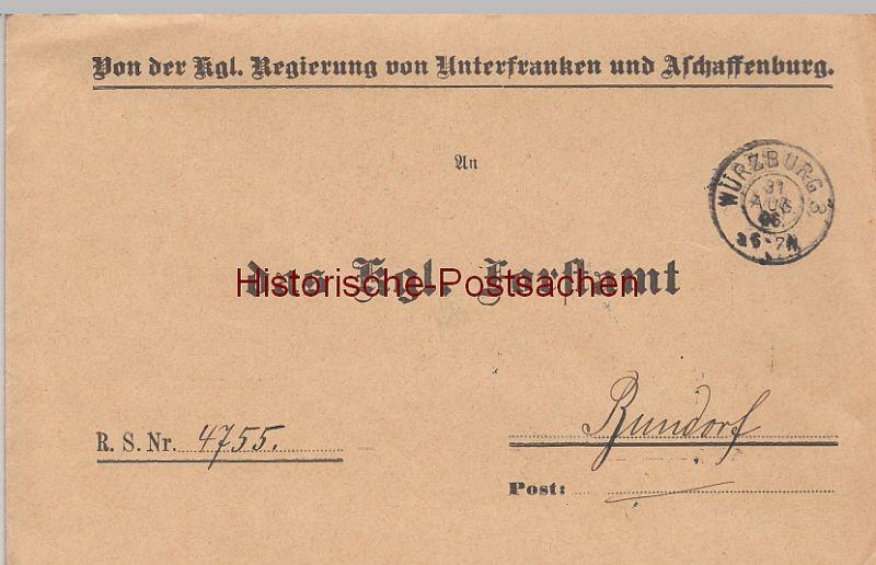 (B2440+) Bedarfsbrief Dienstsache, Regierung v. Unterfranken u. Aschaffenburg 1906