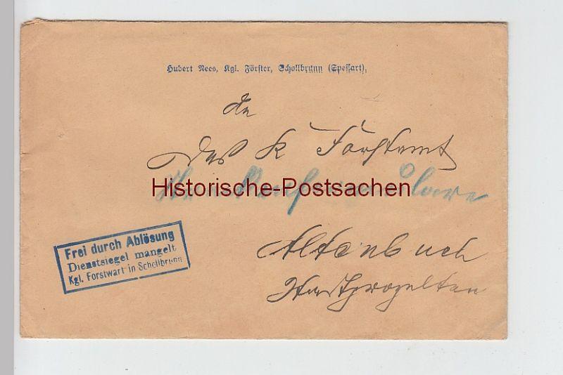 (B2441+) Bedarfsbrief Dienstsache, Förster Hubert Rees Schollbrunn, um 1910