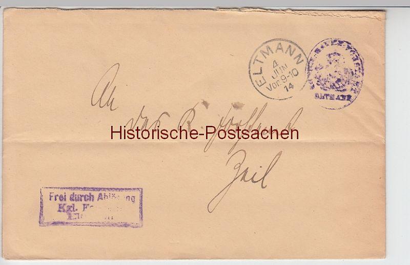 (B2442+) Bedarfsbrief Dienstsache, Stempel Eltmann 1914
