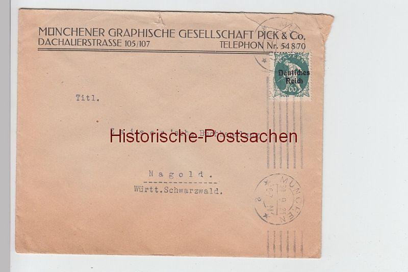 (B2443+) Bedarfsbrief Münch. Graph. Ges. Pick & Co. 1921
