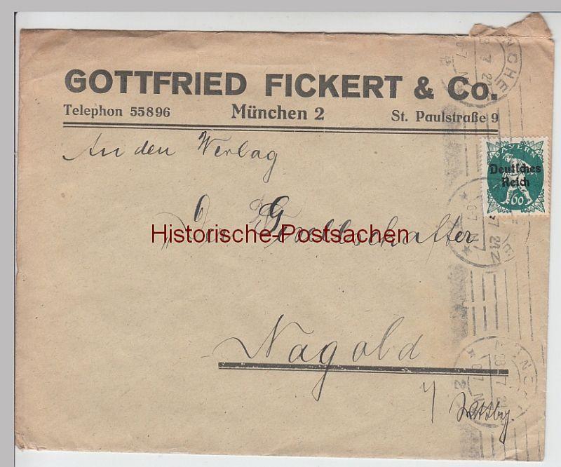 (B2446+) Bedarfsbrief Fa. Gottfried Fickert & Co. 1921