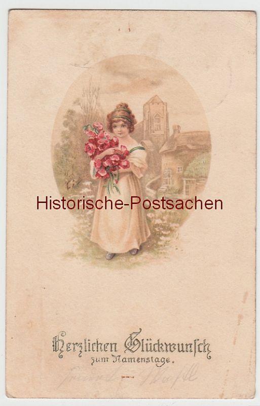 (103661) Künstler AK Namenstag, Mädchen mit Blumen im Arm, vor 1945