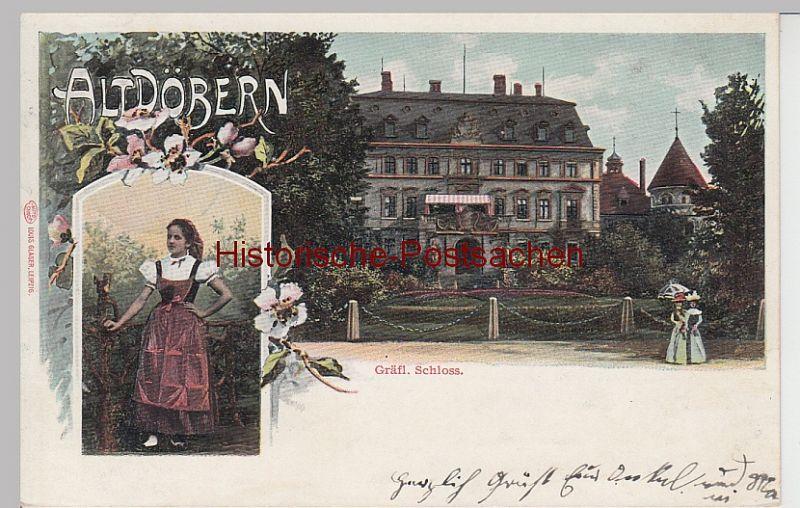 (104734) AK Altdöbern, Gräfl. Schloss u. Trachtenmädel, 1907