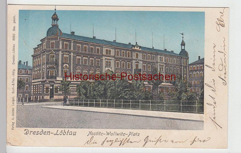 (105296) AK Dresden Löbtau, Nostitz-Wallwitz-Platz, leuchtende Fenster 1905