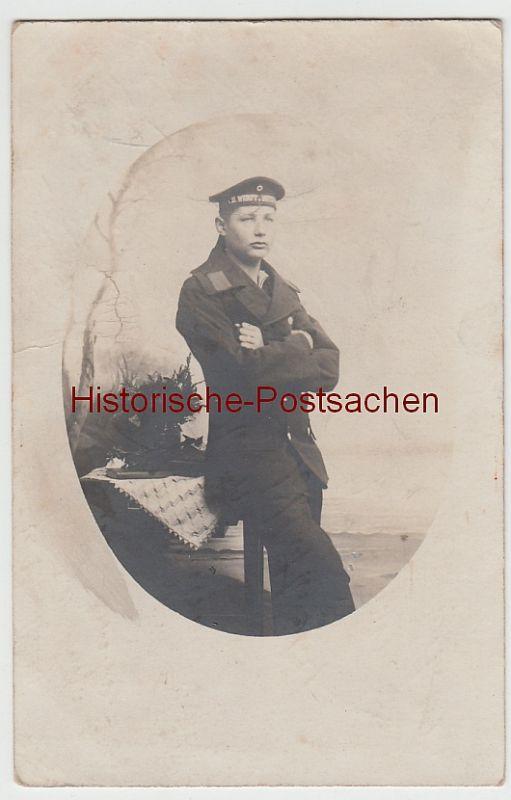 (F7911) Orig. Foto Porträt Heizer N. Weiking, Matrose d. Werft Wilhelmshaven 1912