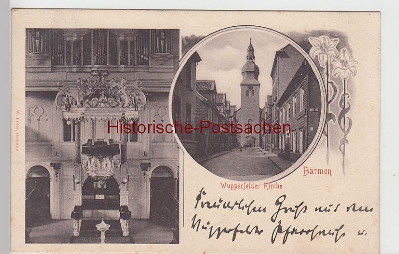 (106379) AK Barmen, Wupperfelder Kirche außen u. innen, 1906
